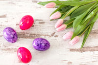 Pink tulips with Easter eggs