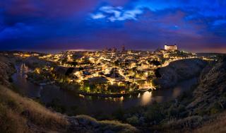 Toledo skyline after sunset, Castilla-La Mancha, Spain