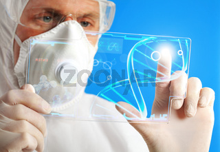 Medical Researcher with Futuristic Tool