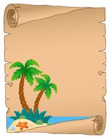 Parchment with tropical island theme 3 - picture illustration.