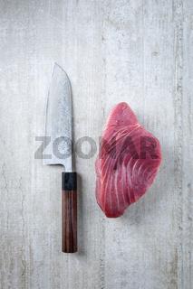 Tuna Steak with Deba Knife