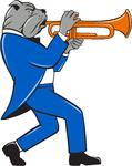 Bulldog Blowing Trumpet Side View Cartoon