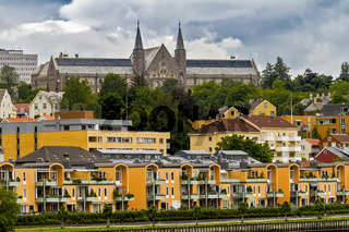 Church With Two Spires On The River Nidelva Trondheim Norway