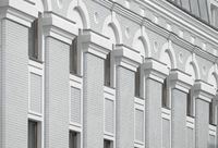 Beautiful architecture on a gray and white building