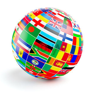3D globe sphere with flags of the world on white