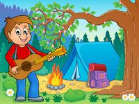 Boy guitar player in campsite theme 2 - picture illustration.