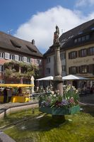 City fountain in the square in the historic town of Staufen