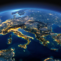 Detailed Earth. Italy, Greece and the Mediterranean Sea on a moonlit night