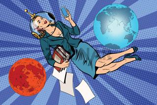 Cosmic business woman astronaut