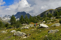 Hiking in the Binntal valley, peak Ofenhorn behind, Valais, Switzerland