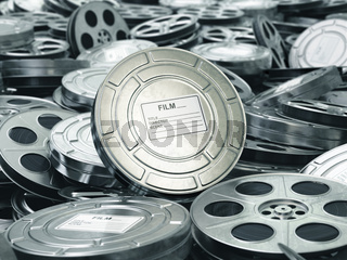 Cinema or movie concept. Video reels background. Films collection.