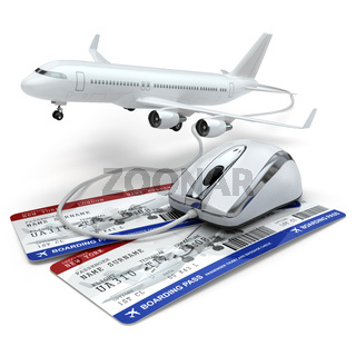Online booking flight or travel concept. Computer mouse, airline tockets and airplane.