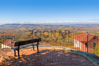 Viewpoint over hills of Langhe in Italy.