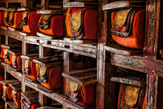 Manuscripts folios in Tibetan Buddhist monastery