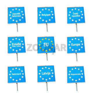 EU / Europe border signs