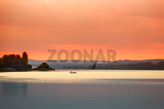 Sunset at Lake Constance (Bodensee) near Reichenau, Germany