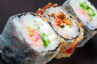 Macro of three different sushi