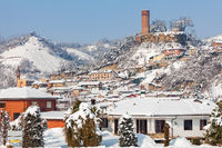 Small town covered with snow in Piedmont, Italy.