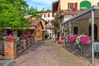 Street in small town of Barolo, Italy.