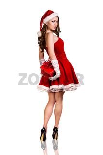 Woman wearing santa clause costume