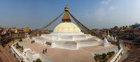 Boudhanath stupa panoramic view in Kathmandu, Nepal