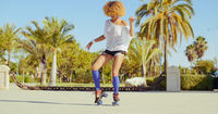 Beautiful And Sexy Girl Dancing on Roller Skates