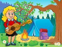 Girl guitar player in campsite theme 2 - picture illustration.