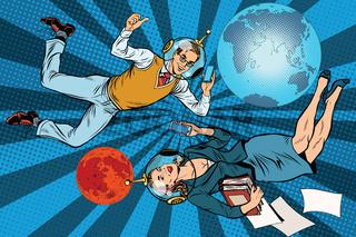 Businessman and businesswoman astronauts
