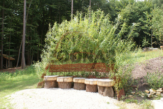 Sitzbank mit Weidenlaube