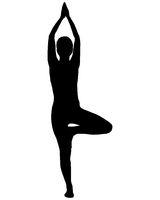 Silhouette einer Frau beim Yoga - Silhouette of woman doing yoga
