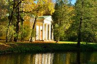 Autumn landscape with Pavilion  in Alexander's garden