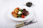 grilled lamb chop with green asparagus and croquettes