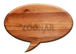 Wooden speech balloon board isolated on white