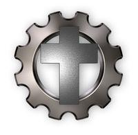 christliches kreuz und zahnrad auf weißem hintergrund - 3d illustration
