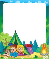 Camping theme frame 2 - picture illustration.