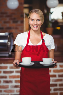 Pretty waitress holding a tray with coffees