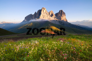 Sassolungo mountain peaks at sunrise
