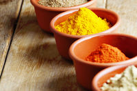 Paprika, mustard, coriander and turmeric spices