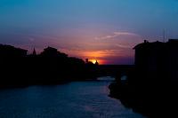 Sundown behind ponte vecchio in florence