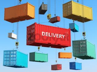 Delivery background concept. Cargo shipping containers in storage area with forklifts.