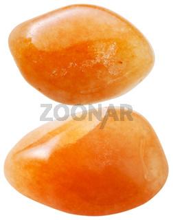 two red aventurine gemstones isolated