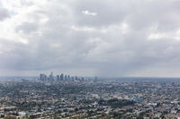 Rain clouds over downtown Los Angeles