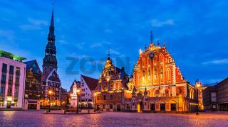 Riga Town Hall Square, House of the Blackheads, St. Roland Statu