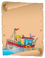 Parchment with fishing boat theme 1 - picture illustration.