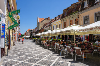 Outdoor cafe at Republic street, near Council Square, Brasov