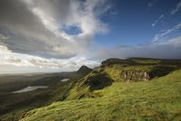 Mood lighting in the rocky landscape of Quiraing