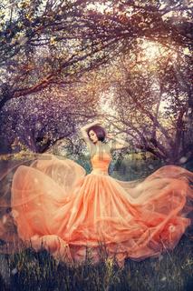 asian girl model in  sakura  garden