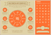 Multimedia Line Design Infographic Template