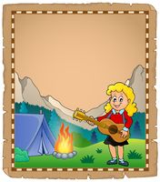 Parchment with girl guitarist in camp 2 - picture illustration.