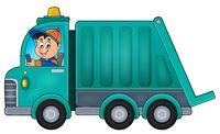 Garbage collection truck theme image 1 - picture illustration.